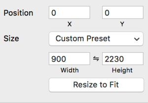 The custom artboard size dialog