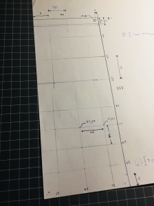A paper template with dimensions for a 5Ux2U front panel