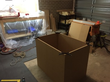 Initial test fit of the box walls